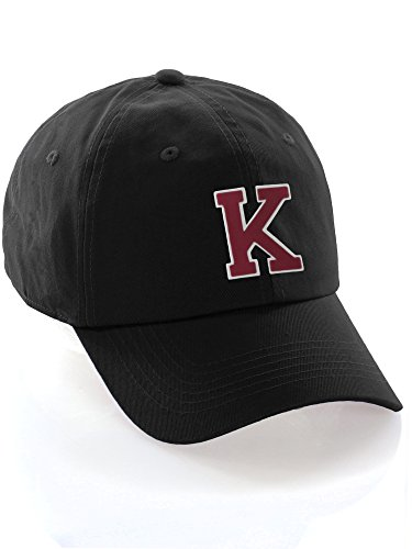 Custom Dad Hat A-Z Initial Letters Classic Baseball Cap - Black Hat with White Red Letter K -