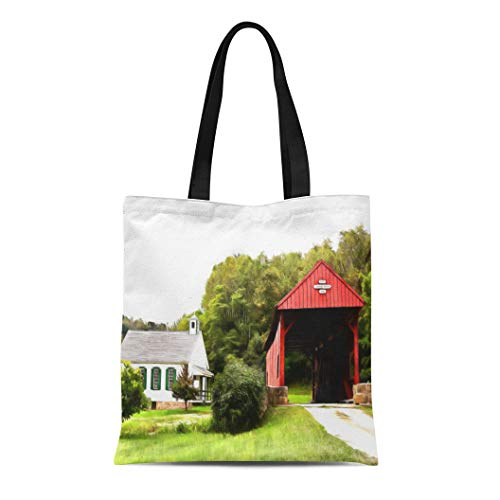 (Semtomn Cotton Line Canvas Tote Bag Washington Covered Bridges County Westmoreland Fayette Somerset Photodesigns Reusable Handbag Shoulder Grocery Shopping Bags)