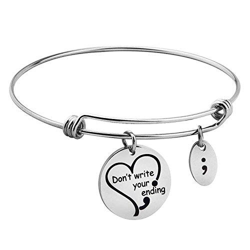 Zuo Bao Semicolon Jewelry Suicide Awareness Don't Write Your Ending Semi Colon Heart Charm Bangle Health Awareness Bracelet (Bangle) ()
