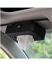 Car Hanging UP Sun Visor Tissue Box,PU Leather Napkin Holder ( Black)