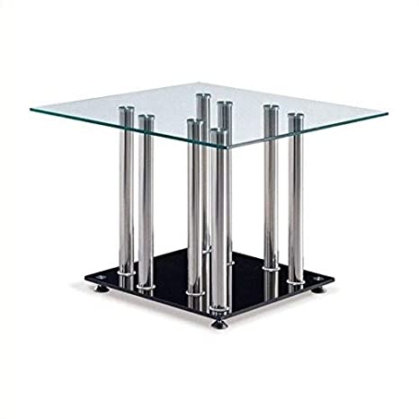 Global Furniture Clear/Frosted Occasional End Table with Glossy White Legs T648ET (M)