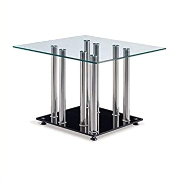 Amazon.com: Global Furniture Clear/Black ocasional mesa ...