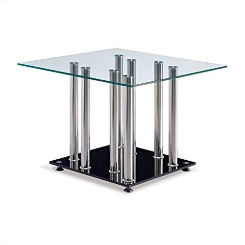 Global Furniture Clear/Black Occasional End Table with Stainless Steel ()
