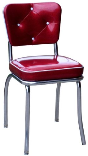 "Richardson Seating Button Tufted Retro Kitchen Chair and 2"" Box Seat, Glittery Sparkle Red - Made in the USA 18 inch Seat Height Chrome plated Steel frame - kitchen-dining-room-furniture, kitchen-dining-room, kitchen-dining-room-chairs - 41XYOt5hirL -"