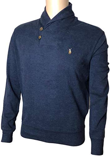 Shawl Neck (Polo Ralph Lauren Mens French Rib Shawl Neck Sweater,Navy Heather With Signature Colored Pony,Large)