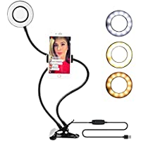 Selfie Ring Light with Cell Phone Holder, 3 Light Mode Selfie Ring Light with Adjustable 360 Rotating Mobile Phone Clip for SmartPhone, Live Stream, Makeup, Youtube, Facebook