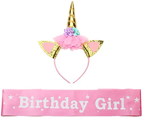 Unicorn Headband and Girl Birthday Sash Set,Gold Glitter Unicorn Horn & Satin Sash for Birthday Party (Party Horns Printed)