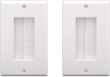 White Single-Gang Low Voltage Cable Pass Through Wall Face Plate 1-Gang