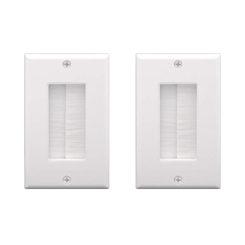[UL Listed] VCE 2-Pack Single Brush Wall Plate - White