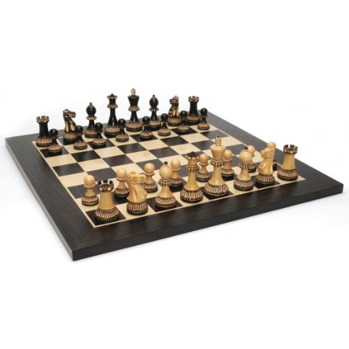 (WE Games Staunton Chess Set - Weighted Chessmen with Floral Etched Pyrography Design & Black Stained Wooden Board 19)