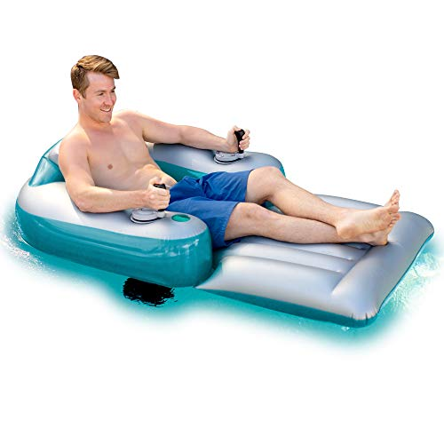 Poolcandy Splash Runner Motorized Inflatable Swimming Pool Lounger - Fun Cool Powered Float for Any Pool or Lake - 1 Year Free Parts Replacement & Support (Pool Loungers Swimming)