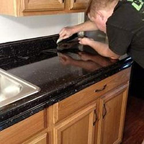 Countertop Paint? No!! Upgrade Counter Tops with Removable Black Marble Granite Bubble Resistant SELF Adhesive PET/PVC Vinyl Film 36'' x 96'' by EZ FAUX DECOR (Image #2)