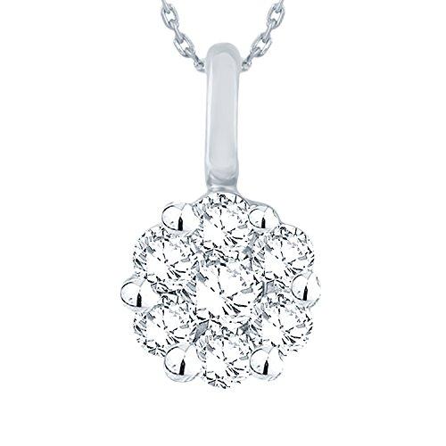 Giantti 14KT Diamond Women's White Gold Daily Wear Pendant Necklace (0.18 Ct Si Diamond)