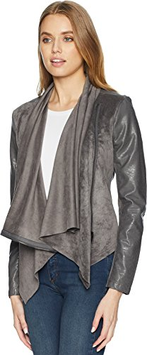 ([BLANKNYC] Blank NYC Women's Faux Suede Drape Front Jacket in Charcoal Grey Charcoal Grey Medium)