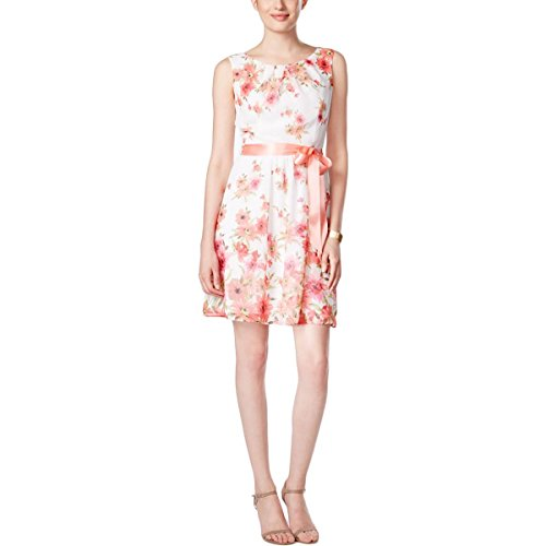 (Connected Apparel Womens Petites Chiffon Layered Casual Dress Pink 4P)