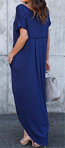 Côté V-cou Été Des Femmes Cromoncent Fente Robe Maxi Avec Poche Bleu