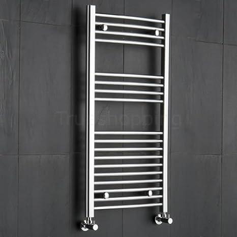Hudson Reed - Radiador Toallero Modelo Curvo en Acero Cromo Para Baño / Cocina - 1000 x 500 mm - 298 Vatios - Calentador Toallas Decorativo - Estilo Escalera - Calefacción Central Agua - Montaje Mural