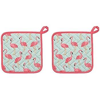 Now Designs Basic Potholders, Set of Two, Flamingos