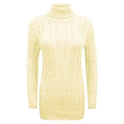 F&F Women Ladies Cowl Polo Roll Turtle Neck Cable Knitted Bodycon Jumper Dress free shipping