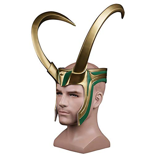 K & E ke 2017 Thor 3loki Rocky Helmet Mask Halloween Loki mask Cosplay PVC Mask Half Loki Helmet & Face Golden Giant Horns Helmet cos Hat mask Props Male]()