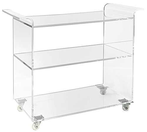 Unum Clear Acrylic Bar Cart on Wheels - 3-Tier Lucite Rolling Drinks Trolley - Holds Beverages, Stemware, Barware or LPs/Vinyl Records - 36