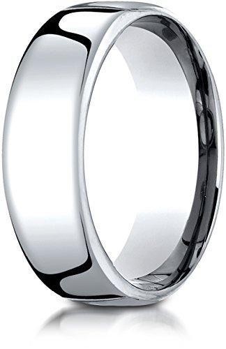 Benchmark 14K White Gold 7.5mm European Comfort-Fit Wedding Band Ring, Size 9.25 ()