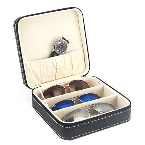 Olpchee Portable 3-Slot Glasses Storage Travel Sunglass Organizer Zipper Box Jewelry Leatherette Display Case ()