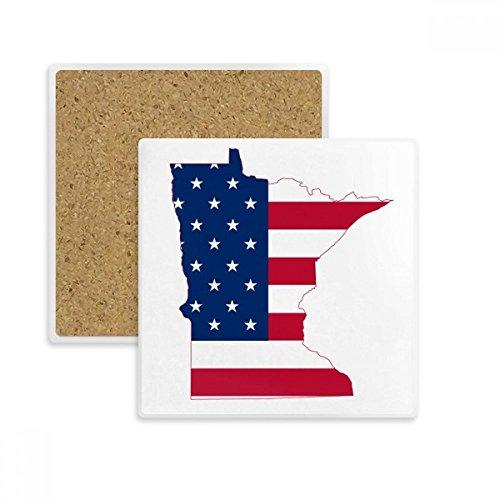 Minnesota USA Map Stars Stripes Flag Shape Square Coaster Cup Mug Holder Absorbent Stone for Drinks 2pcs (Minnesota Star Stripes)