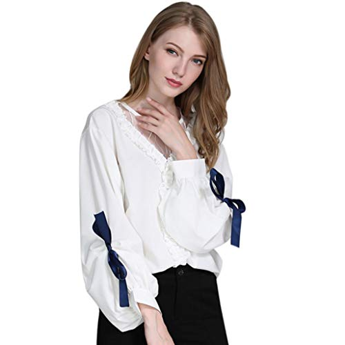 Corriee Blouse for Woman Ladies Autumn Elegant Lantern Sleeve Bow Formal Shirt Casual Comfy Pullover Work Party Tops by Corriee woman Blouse