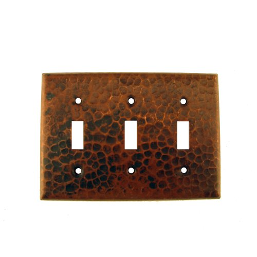 Premier Copper Products ST3 Copper Switch Plate Triple Toggle Switch Cover, Oil Rubbed Bronze