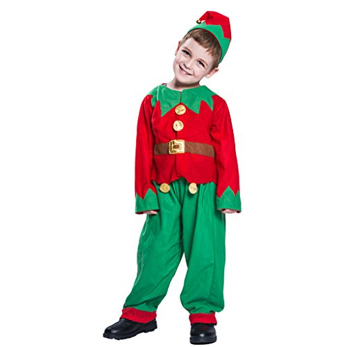 EraSpooky Kids' Christmas Costumes Elf Outfit Boys Santa Elf Costume Girls Dress Up - Funny Cosplay Party ()