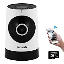 FunAce 180 Wide Angle WiFi IP Network Wireless HD Camera with 8 GB MicroSD Card