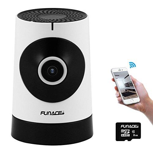 FunAce 180 Wide Angle WiFi IP Network Wireless HD Camera with 8 GB MicroSD Card
