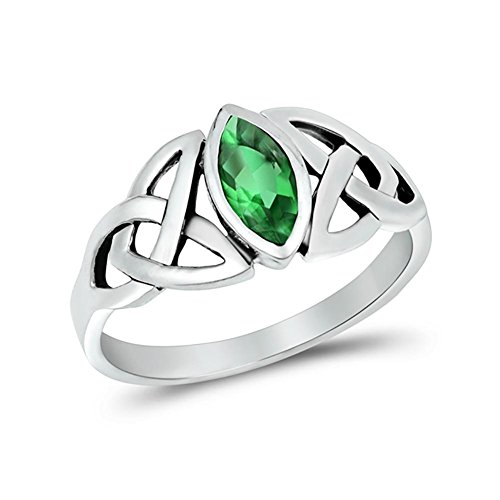Blue Apple Co. Celtic Bezel Marquise Solitaire Ring Simulated Green Emerald CZ 925 Sterling (Marquise Created Emerald Ring)