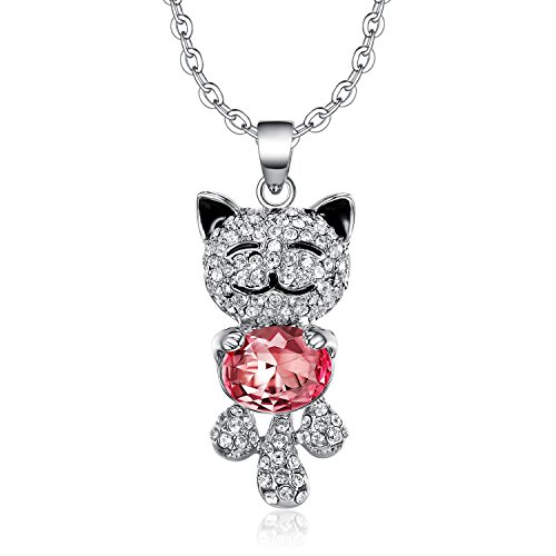 Lee Island Fashion 18K White Gold Plate Austrian Crystal Cute Smile Cat Pendant Necklace, 18 inch Woman Girl Gift- Gift Packing (Pink) (Gold 18ct White Plate)