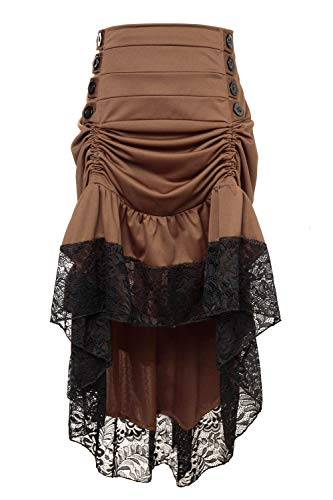 Female Steampunk Outfits (Charmian Women's Steampunk Victorian Gothic High Waist Lace Trim Ruffled High Low Bustle Skirt Brown)