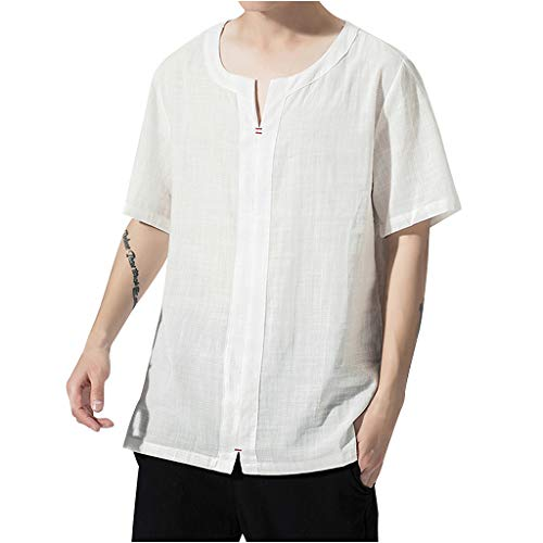 GDJGTA Tops for Mens Summer Short Sleeve Casual Fashion Pure Color Cotton Linen T-Shirts Tops White