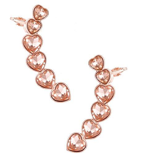 Crystal Hearts Crawler Earrings Pierced Ears Climber Earrings with Top Ear Clip (Rose Gold) ()