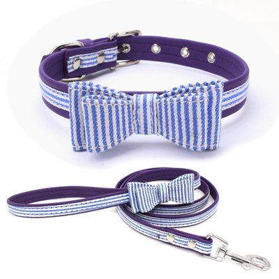 (PETCARE Personalized Adjustable Dog Pulling Leash Collar with Double Ply Microfiber Fabric Bow Tie Dogs Patriotic Flag Collars Comfortable and Soft Pet Holiday Collars for Walking (S, Purple/Blue))