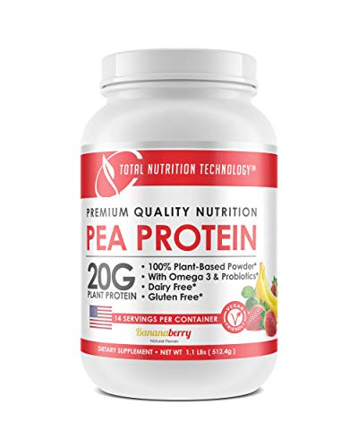 Vegan Plant Based Pea Protein Powder - Strawberry Banana Flavor - 20grams per Serving - Gluten Free - Probiotics - 1.1 Lbs Tub - Natural Flavor - by Total Nutrition Technology