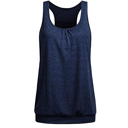 (Womens Sleeveless Pure Color Wrinkled Loose Racerback Workout Tank Top Blouse Navy)