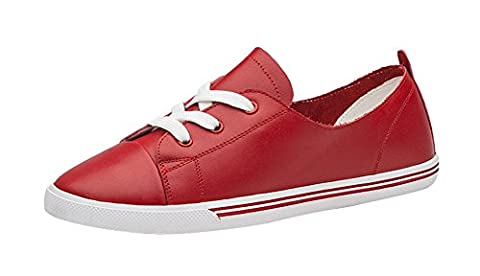 Freerun Women's Casual Lace-up Flat Leather Comfort Fashion Sneakers (5.5 B(M)US,red) (Zx Flux Italia)