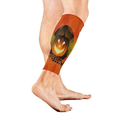 Stretch Sport Calf Sleeve Halloween Pumpkin Nice Wallpaper Protective Guard for Men Women - Best Footless Compression Socks for Shin Splints, Running,Basketball Football (1 Pair) -