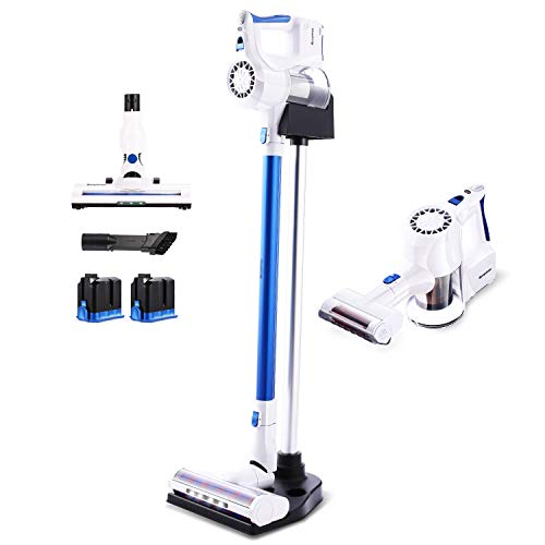 SIMPFREE Cordless Stick Vacuum Cleaner, 22KPa Powerful Suction Lightweight Handheld Cordless Vacuum with Digital Motor 2 Duo Ion Batteries (Pearl White-Extra Motorized Brush/Battery)