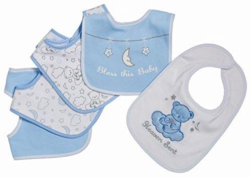 [Little Beginnings 5 Piece Baby Bibs for Boys, Heaven Sent, Blue] (Minnie Mouse Nose)