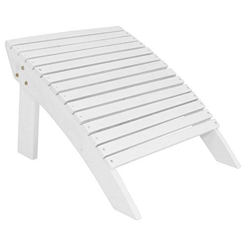 Adirondack Footrest Style (Sunnydaze Wooden Outdoor Adirondack Ottoman Footrest, White)