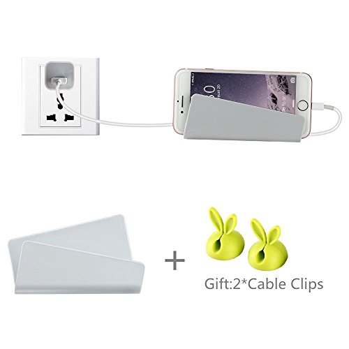 Wall Mount Phone Holder, Lodoicea Damage-Free Dock Charger Holder with 3M Command Adhesive Strips For iPhone, iPad, Tablet or Smartphone (Silver)