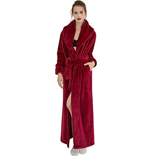 7 VEILS Women Flannel Ultra Long Floor Length Bathrobes-Burgundy-XL