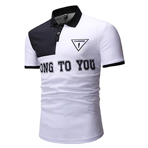 Wobuoke Fashion Mens Half Cardigans Short Sleeve Patchwork Casual T Shirt with Buttons White from Wobuoke_Men shirt