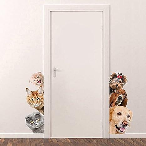 Pegatinas perros y gatos para puertas habitacion baño quedan espectaculares alegres coloridas y originales 17cm x 40cm paredes ventana caravanas de OPEN ...